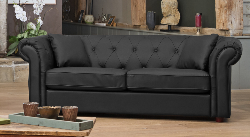 Wellesley 3 seat sofa black